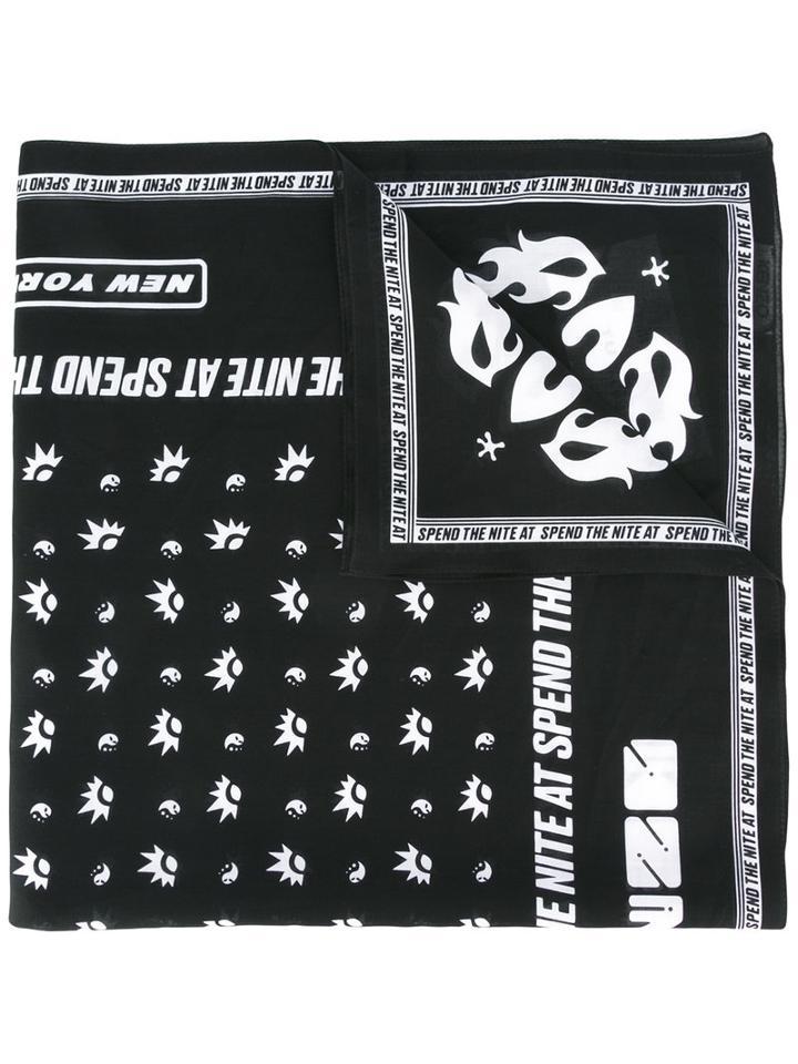 Kenzo Patterned Neck-scarf, Women's, Black, Cotton