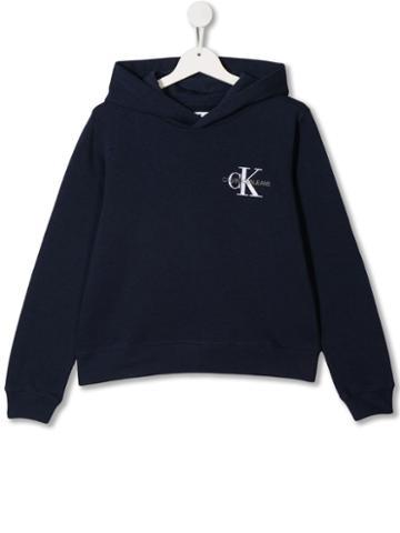 Calvin Klein Kids Logo Embroidered Hoodie - Blue