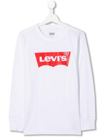 Levi's Kids Teen Logo-print Long Sleeved T-shirt - White