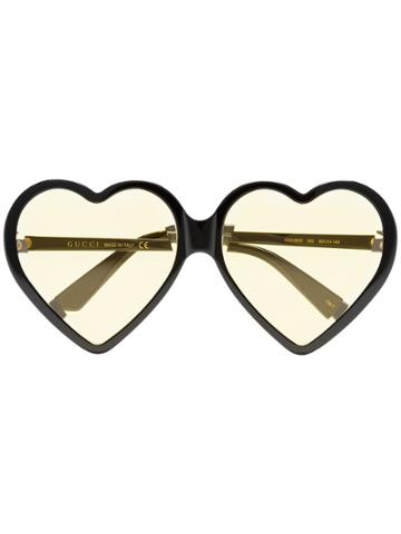 Gucci Eyewear Yellow Heart-shaped Sunglasses - Black
