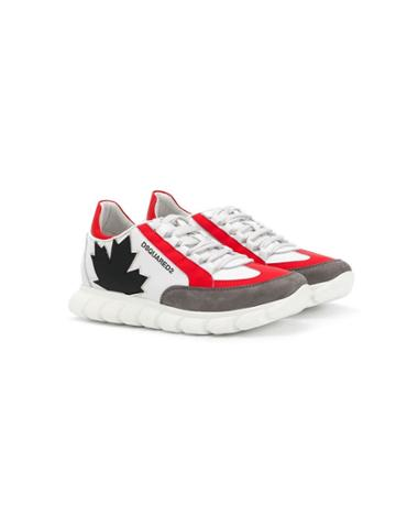 Dsquared2 Kids Teen Maple Leaf Running Sneakers - White