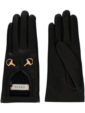 Gucci Hardware Embellished Gloves - Black