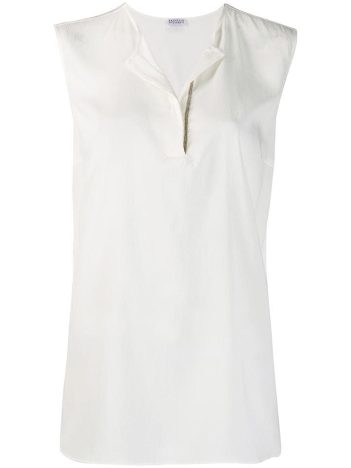 Brunello Cucinelli Sleeveless Shift Blouse - White