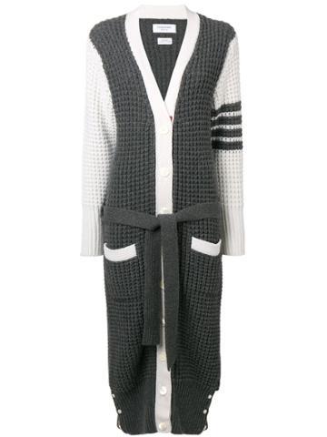 Thom Browne 4-bar Waffle Stitch Cardigan Coat - Grey