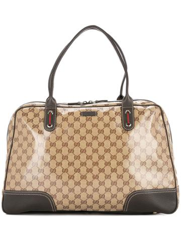 Gucci Vintage Gg Shelly Line Travel Hand Bag - Brown