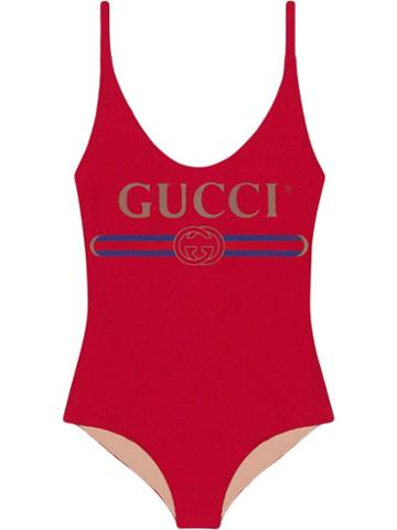 Gucci Sparkling Swimsuit With Gucci Logo - Red