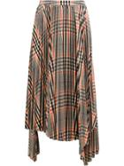 Juun.j Pleated Plaid Skirt - Orange