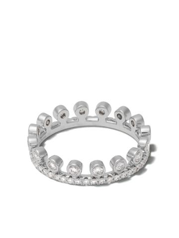 De Beers 18kt White Gold Dewdrop One Line Diamond Pave Band