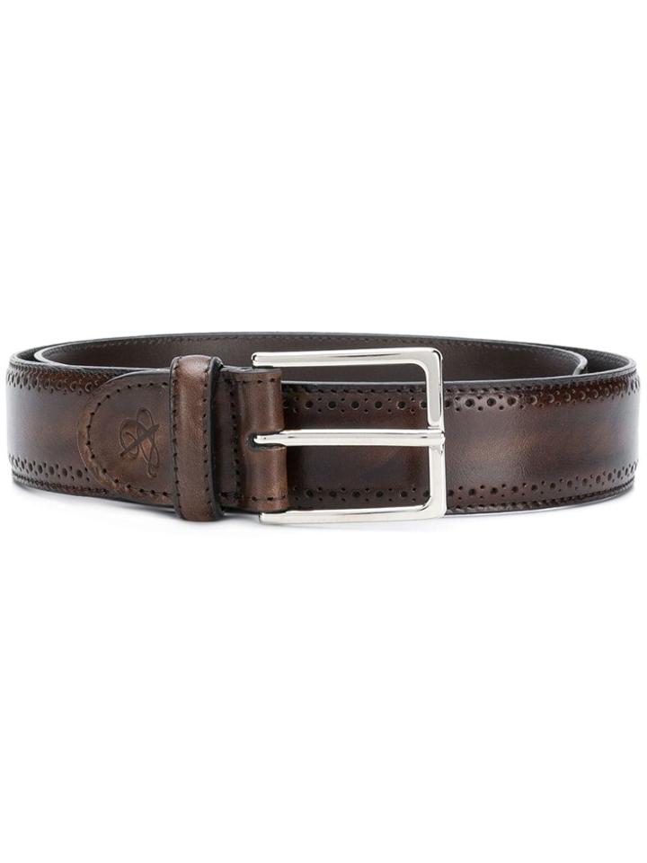 Canali Perforated Detail Belt - Brown