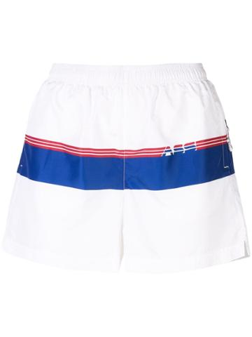 Adam Selman Sport Logo Stripe Track Shorts - White