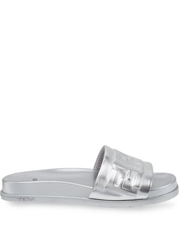 Fendi Metallic Ff Logo Slides - Silver