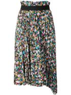 Balenciaga Pleated Floral Skirt - Blue