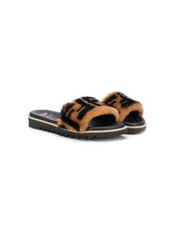 Fendi Kids Teen Printed Ff Logo Sandals - Black