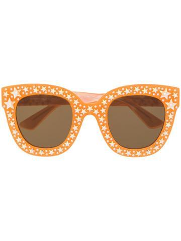 Gucci Eyewear Star Studded Frame Sunglasses - Orange