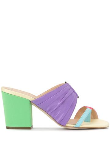 Rosie Assoulin Rainbow Pleated Mules - Green