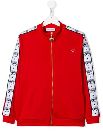 Chiara Ferragni Kids Side Stripe Track Jacket - Red