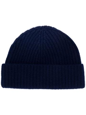 Aspesi Knitted Beanie Hat - Blue