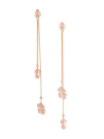 Karen Walker Acorn & Leaf Pendulum Earrings - Metallic