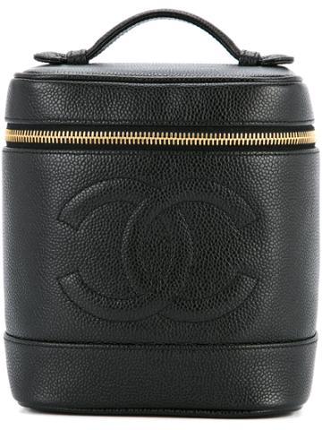 Chanel Vintage Caviar Skin Cc Vanity - Black