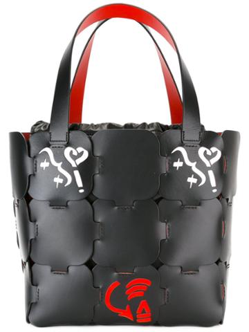 Paco Rabanne Graphic Print Tote, Women's, Black, Leather