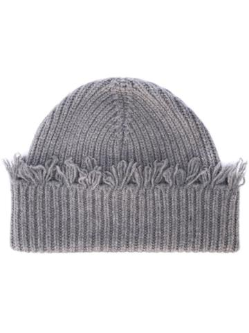Alanui Fringed Knit Beanie - Grey