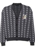 Prada Jacquard Knitted Cardigan - Grey