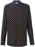 Saint Laurent Small Print Shirt, Men's, Size: 40, Black, Viscose