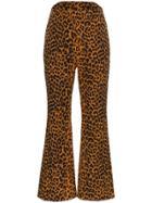 Push Button Leopard Print Cotton Trousers - Brown
