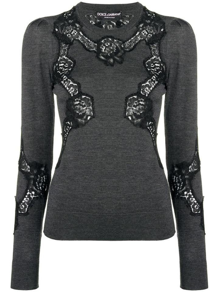 Dolce & Gabbana Lace Detail Jumper - Grey