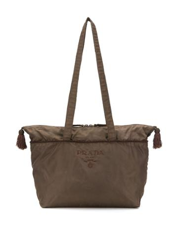 Prada Pre-owned '1990s Logo Embroidered Tote - Brown