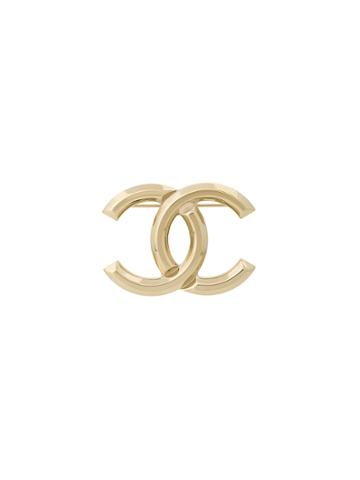 Chanel Vintage Interlocking Cc Brooch - Metallic