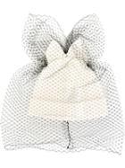 Federica Moretti Veil And Bow Beanie, Women's, White, Cotton/polyester