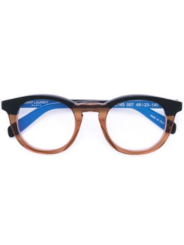 Saint Laurent - Panel Round Glasses - Unisex - Acetate - One Size, Black, Acetate