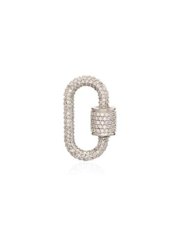 Marla Aaron 14kt White Gold Chubby Baby Diamond Lock Charm - Metallic