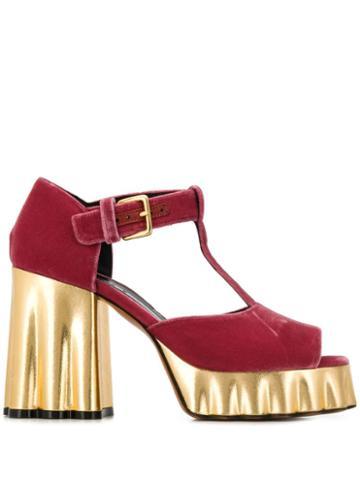 Marni Gold Platform Sandals - Red