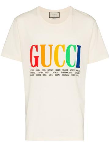 Gucci Rainbow Cities Print Cotton T Shirt - White