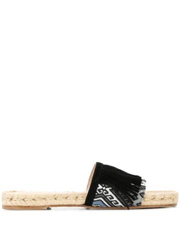 Solange Sandals Fringed Slides - Black