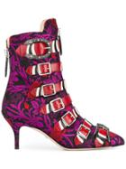 Gucci Jacquard Buckled Ankle Boots - Pink & Purple