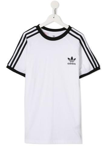 Adidas Kids Teen 3-stripes Logo T-shirt - White