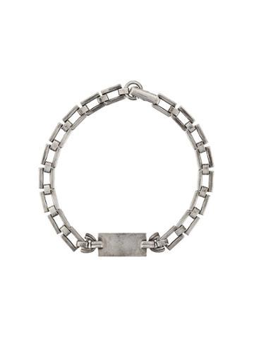 Saint Laurent Tag Link Bracelet - Silver