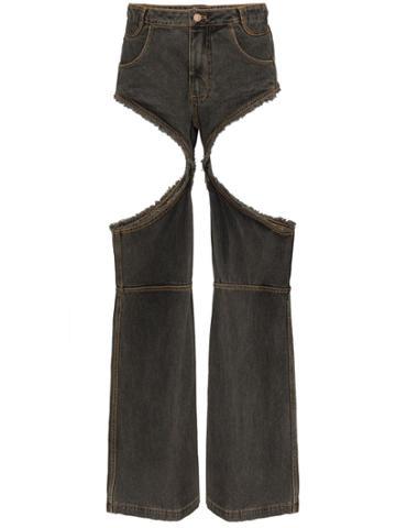 Telfar Frayed Cut-out Baggy Jeans - Grey
