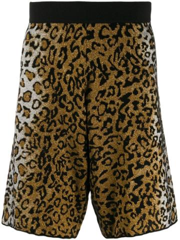 Versace Leopard Jacquard Shorts - Neutrals