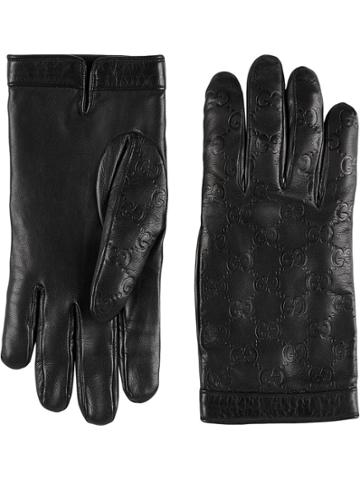 Gucci Gucci Signature Gloves - Black
