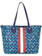 Bally Printed Canvas Tote, Women's, Blue, Canvas