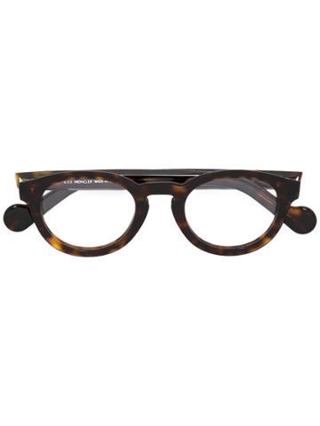 Moncler Round Frame Glasses, Brown, Acetate