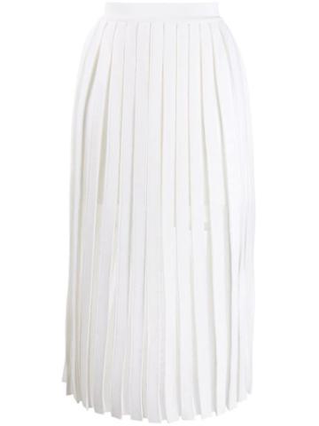 Balmain Pleated Midi Skirt - White