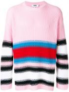Msgm Striped Rib Knit Sweater - Pink & Purple
