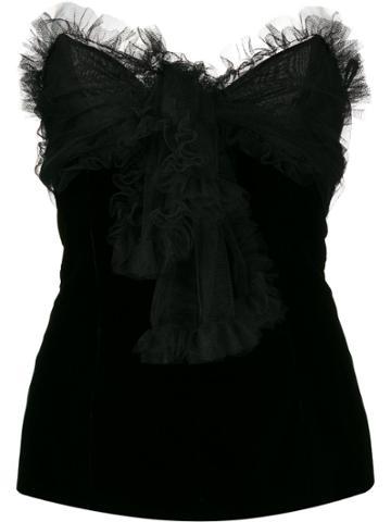 Yves Saint Laurent Pre-owned 1970s Ruffle Trim Top - Black