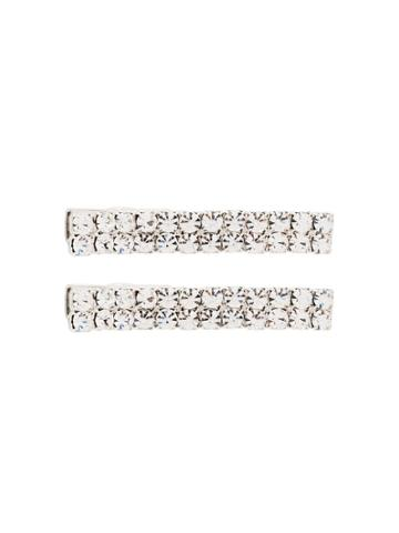 Jennifer Behr Odette Crystal Hair Clips - Metallic