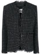 Msgm Houndstooth Check Coat - Black